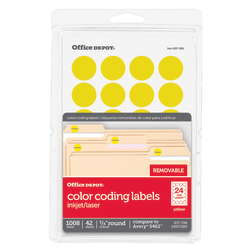 """Office Depot® Brand Removable Round Color-Coding Labels, OD98788, 3/4"""" Diameter, Yellow, Pack Of 1,008"""