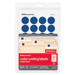 """Office Depot® Brand Removable Round Color-Coding Labels, OD98790, 3/4"""" Diameter, Dark Blue, Pack Of 1,008"""