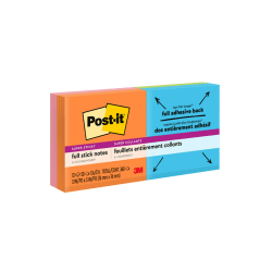 """Post-it® Super Sticky Full Stick Notes, 3"""" x 3"""", Rio De Janeiro Color Collection, 25 Sheets Per Pad, Pack Of 16 Pads"""