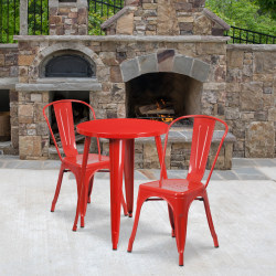 "Flash Furniture Round Metal Indoor-Outdoor Table Set With 2 Café Chairs, 29"" x 24"", Red"