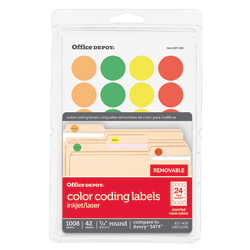 """Office Depot® Brand Removable Round Color-Coding Labels, OD98789, 3/4"""" Diameter, Assorted Fluorescent Colors, Pack Of 1,008"""