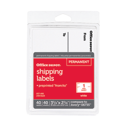 """Office Depot® Brand White To/From Shipping Label Pad, OD98806, 3 3/4"""" x 2 5/8"""", Pack Of 40"""