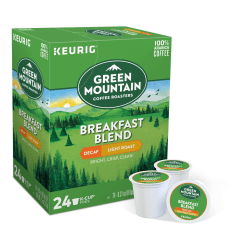 Green Mountain Coffee® Breakfast Blend Decaffeinated Coffee Single-Serve K-Cup®, Carton Of 24