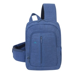 "Rivacase 7529 Canvas Sling Bag With 13.3"" Laptop Pocket, Blue"