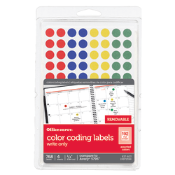 """Office Depot® Brand Removable Round Color-Coding Labels, OD98803, 1/4"""" Diameter, Multicolor Dots, Pack Of 768"""