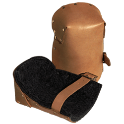 Leather Pro Knee Pads, Strap/Buckle, Russet