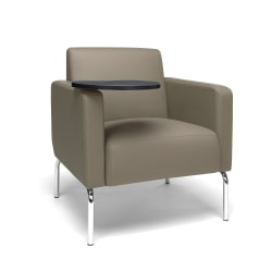 OFM Triumph Series Lounge Chair With Tablet, Tungsten Tablet, Taupe/Chrome