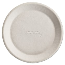 """Chinet® Savaday® Molded-Fiber Plates, 10"""", White, Pack Of 500 Plates"""
