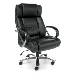 OFM Avenger Big And Tall Bonded Leather High-Back Chair, Black/Chrome