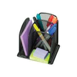"Safco Onyx Mini Desk Organizer - 6"" Height x 5.4"" Width x 4.1"" Depth - Black - Steel - 1Each"