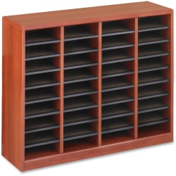 "Safco E-Z Stor Light Wood Literature Organizers - 750 x Sheet - 36 Compartment(s) - Compartment Size 3"" x 9"" x 11"" - 32.5"" Height x 40"" Width x 11.8"" Depth - Recycled - Cherry - Fiberboard, Hardboard, Wood - 1 / Each"