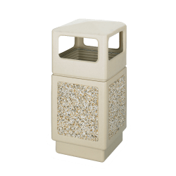 """Safco® Plastic/Stone Aggregate Receptacle, 38 Gallons, 39"""" x 18 1/4"""" x 18 1/4"""", Tan"""