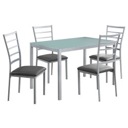 Monarch Specialties Abraham Dining Table With 4 Chairs, Silver