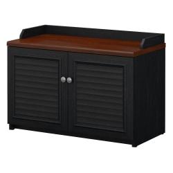 Bush Furniture Fairview Shoe Storage Bench, Antique Black/Hansen Cherry, Standard Delivery