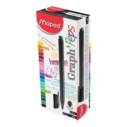 Helix Graph' Peps Fineliner Felt-Tip Pens, Extra-Fine Point, 0.4 mm, Black Ink, Pack Of 12 Pens