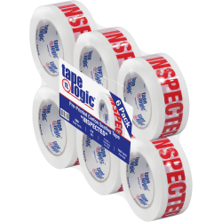 """Tape Logic® Inspected Preprinted Carton Sealing Tape, 3"""" Core, 2"""" x 110 Yd., Red/White, Case Of 6"""