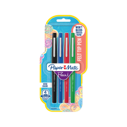 Paper Mate® Flair® Porous-Point Pens, Medium Point, 1.0 mm, Assorted Ink Colors, Pack Of 4 Pens