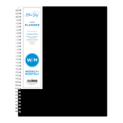 """Blue Sky™ Weekly/Monthly Planner, 8-1/2"""" x 11"""", Black, January To December 2021, 111288"""