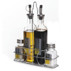 Gibson Home General Store 4-Piece Condiment Set With Caddy, Silver/Clear