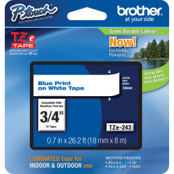 """Brother® TZe-243 Blue-On-White Tape, 0.75"""" x 26.2'"""