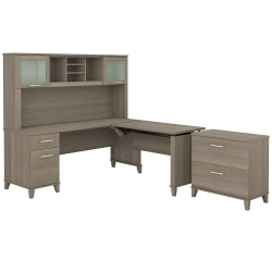 """Bush Furniture Somerset 72""""W 3 Position Sit to Stand L Shaped Desk With Hutch And File Cabinet, Ash Gray, Standard Delivery"""