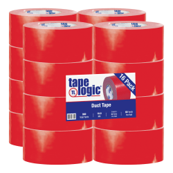 """Tape Logic® Color Duct Tape, 3"""" Core, 3"""" x 180', Red, Case Of 16"""