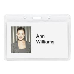 "Office Depot® Brand Plastic Badge Holders, 3 15/16"" x 3 1/4"", Horizontal, Pack Of 12"