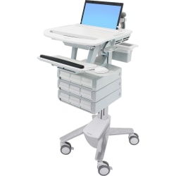 "Ergotron StyleView - Cart for notebook / keyboard / mouse / scanner (open architecture) - medical - plastic, aluminum, zinc-plated steel - gray, white, polished aluminum - screen size: 17.3"" wide"