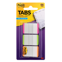 "Post-it® Notes Durable Filing Tabs, 1"" x 1-1/2"", Green/Orange/Pink Color Bars, 22 Flags Per Pad, Pack Of 3 Pads"