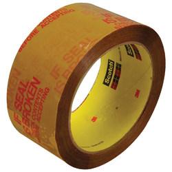 "3M™ 3732 Preprinted Carton Sealing Tape, 3"" Core, 2"" x 55 Yd., Tan/Red, Case Of 36"