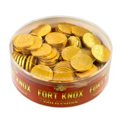 "Fort Knox Milk Chocolate Foil Coins, Gold, 1 1/2"", 1 Lb Bag"