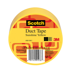 "Scotch® Colored Duct Tape, 1 7/8"" x 20 Yd., Yellow"