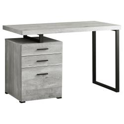 Monarch Specialties Computer Desk With 3 Drawers, Gray Woodgrain/Black