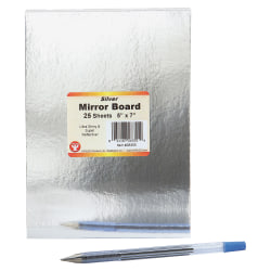 "Hygloss Mirror Board - Cardmaking, Scrapbooking, Decoration, Project, Sign, Display - 1"" x 5""7"" - 25 / Pack - Silver"