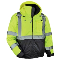 Ergodyne GloWear 8377 Type-R Class 3 Quilted Bomber Jacket, XX-Large, Lime