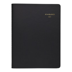 "AT-A-GLANCE® Weekly 13-Month Appointment Book/Planner, 8-1/4"" x 11"", Black, January 2021 to January 2022, 7095005"