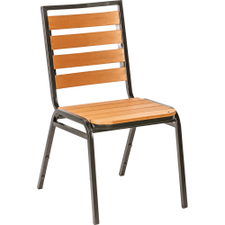 Lorell® Faux Wood Outdoor Chairs, Teak/Black, Set Of 4 Chairs