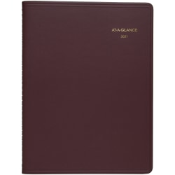 """AT-A-GLANCE® Weekly 13-Month Appointment Book/Planner, 8-1/4"""" x 11"""", Winestone, January 2021 to January 2022, 7095050"""