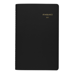 "AT-A-GLANCE® Daily Appointment Book/Planner, 5"" x 8"", Black, January to December 2021, 7080005"