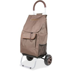 "dbest Shopping Trolley Dolly - 110 lb Capacity - x 16"" Width x 13"" Depth x 38"" Height - Aluminum Frame - Brown - 1 Each"