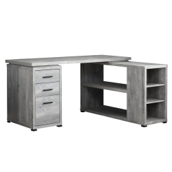 Monarch Specialties L-Shaped Computer Desk With Bookshelf, Gray Woodgrain