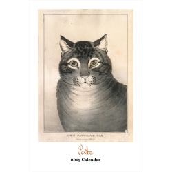 """Retrospect Monthly Wall Calendar, The Art Of Cats, 19-1/4"""" x 12-1/2"""", Multicolor, January to December 2019"""