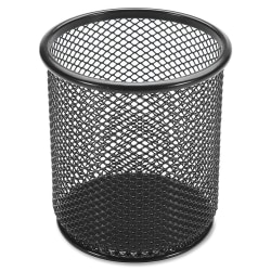 "Lorell® Mesh Pencil Cup, 3 1/2""H, Black"