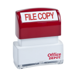 "Office Depot® Brand Pre-Inked Message Stamp, ""File Copy"", Red"