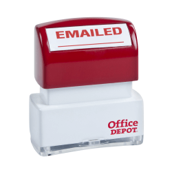"Office Depot® Brand Pre-Inked Message Stamp, ""Emailed"", Red"