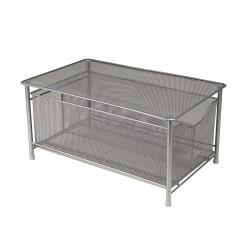 Mind Reader Platform-Top Storage Basket With Sliding Drawer, Medium Size, Silver