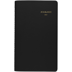 """AT-A-GLANCE® Weekly Appointment Book/Planner, 5-1/2"""" x 8-1/2"""", Black, January to December 2021, 7007505"""