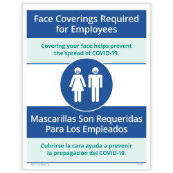 """ComplyRight™ Coronavirus And Health Safety Posting Notice, Face Coverings Required For Employees, English, 8-1/2"""" x 11"""""""