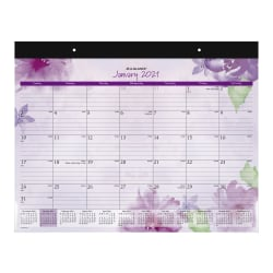 "AT-A-GLANCE® Beautiful Day 13-Month Monthly Desk Pad Calendar, 21-3/4"" x 17"", Floral, January 2021 To January 2022, SK38-704"