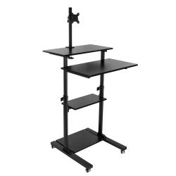 "Mount-It MI-7942 Mobile Stand Up Desk, 30-5/8""H x 37-1/8""W x 4-5/8""D, Black"